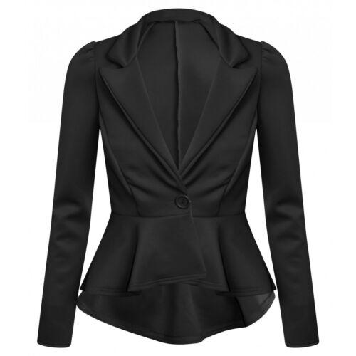 Womens Ladies Slim Fit Office Casual Frill Peplum Blazer Jacket Plus size 8-24