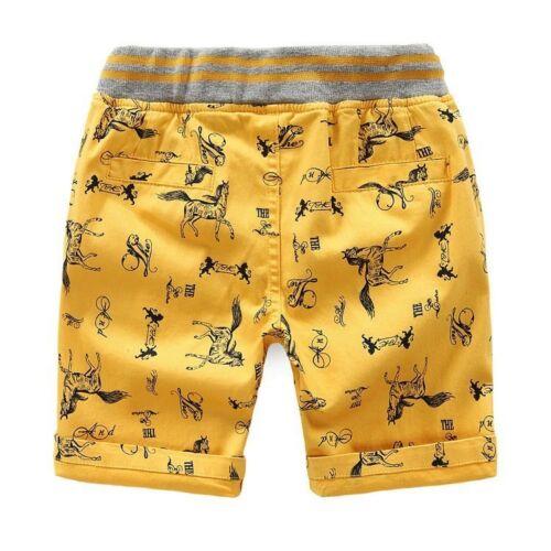 Summer Kids Boys 2T-7T Shorts Character Print Beach Boys Short Pants Pure Cotton