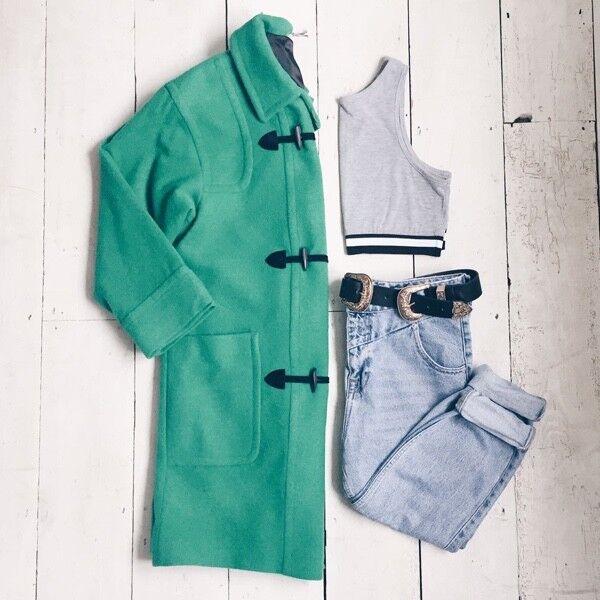 Classic Vintage Green Wool Duffle Coat