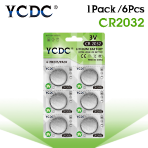 6pcs-1Cards-YCDC-CR2032-Lithium-Button-Batteries-DL2032-ECR2032-BR2032-Coin-Cell