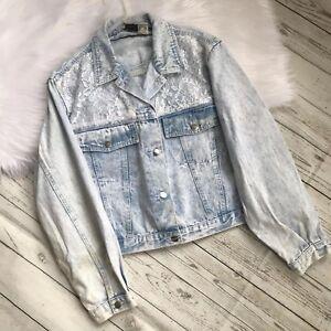 Vintage-Stefano-Jean-Jacket-Acid-Stone-Wash-Lace-Pockets-Womens-Large-XL-Crop