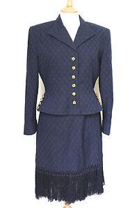 Gold Suit 12 Uk Navy Us Valentino Tassel Blue 10 Skirt qXZWpEz
