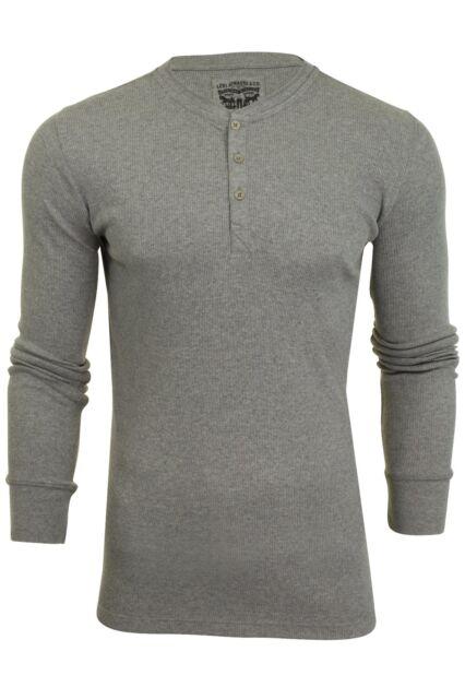 965f6557 Levi's Men's 300 LS Longsleeved Cotton Rib Grandad T-shirt Grey ...