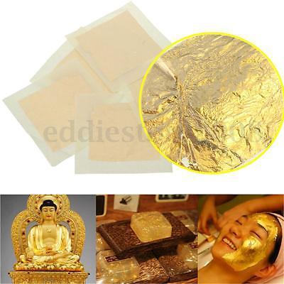 5x 24K Pure Gold Edible Real Leaf Leaves Sheet Gilding 1.57'' 4cm Craft Mask SPA
