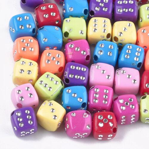 1514 50 cube 8 mm Acrylique Perles Multicolores mélangé Quadrilatère plaqués Beads