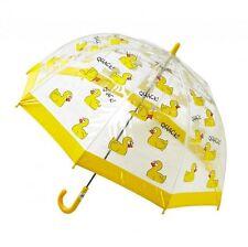 Bugzz Kids Duck Design Dome Brolly Childrens / Childs Clear PVC Fun Umbrella