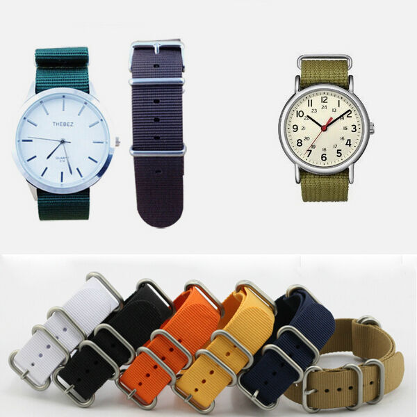 Men's Nylon Sport Wrist WatchBand Strap Infantry Military Army 6 Color 18- 22mm