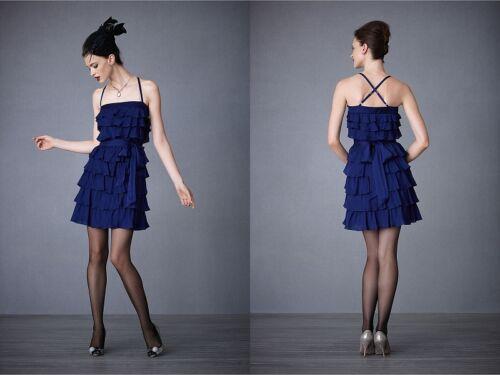 All Sizes New BHLDN Anthropologie Blue Silk TIERED TWIRLER DRESS Retail $400