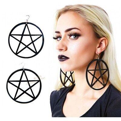 One Pair Black Round Star Shape Earrings Hoop Stud Earrings Goth Punk Emo Celebs