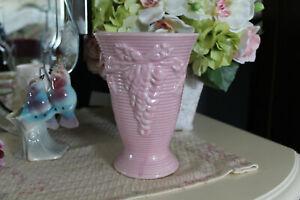 Vintage-Pink-Pottery-Vase-Art-Deco-Pink-Ceramic-Vase-with-Raised-Flowers-Chic