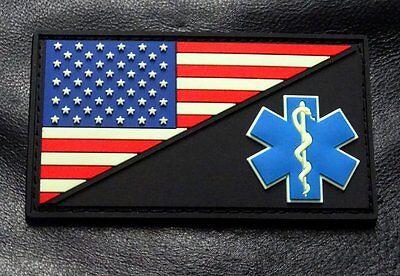 PVM3-Glow Dark EMT USA Flag Medic Ems Paramedic PVC Rubber Hook Patch