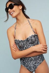 98016829ad Image is loading NEW-Anthropologie-Allihop-Banded-Scalloped-One-Piece- Swimsuit-