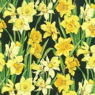 Fat Quarter Daffodil Blossom Cotton Quilting Sewing Flower Fabric Open