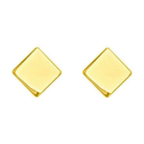 14K Solid Real Yellow Gold Plain Minimalist Square Stud Earrings Screw Back