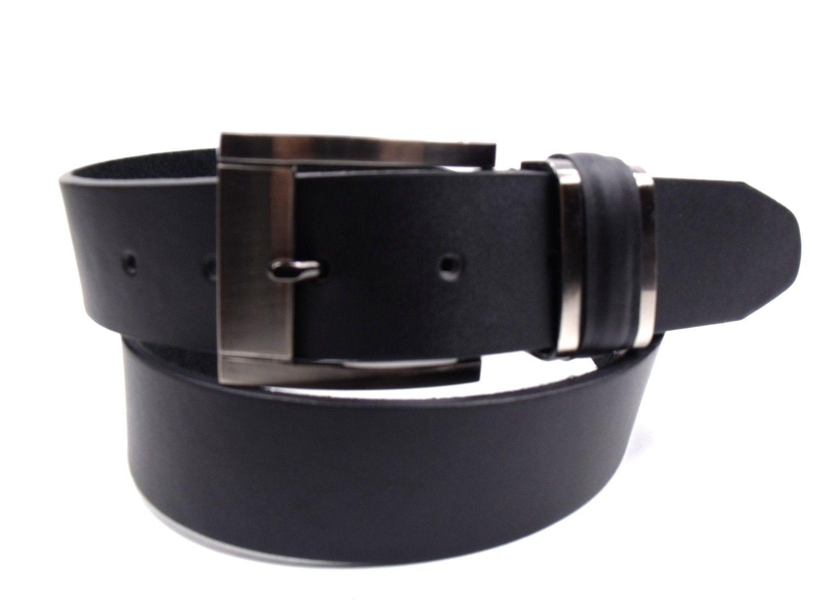 Herren Hochwertig Schwarzer Ledergürtel mit Silber Schnalle Von Milano