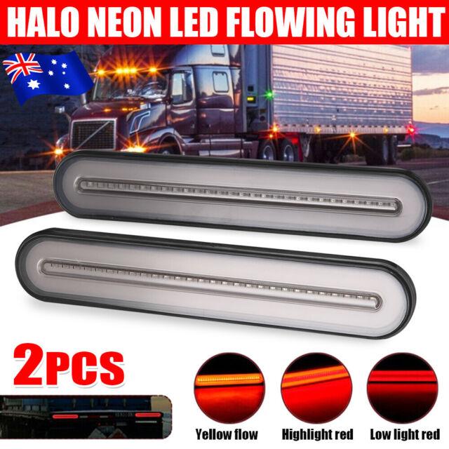 2PCS Neon Halo LED Tail Lights Trailer Flowing Turn Signal Brake Indicator Lamp
