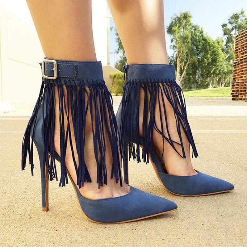 Para mujeres en en en punta Borlas Bombas Zapatos De Tacones Altos Tacones De Aguja Fiesta Baile de graduación resbalón en  auténtico