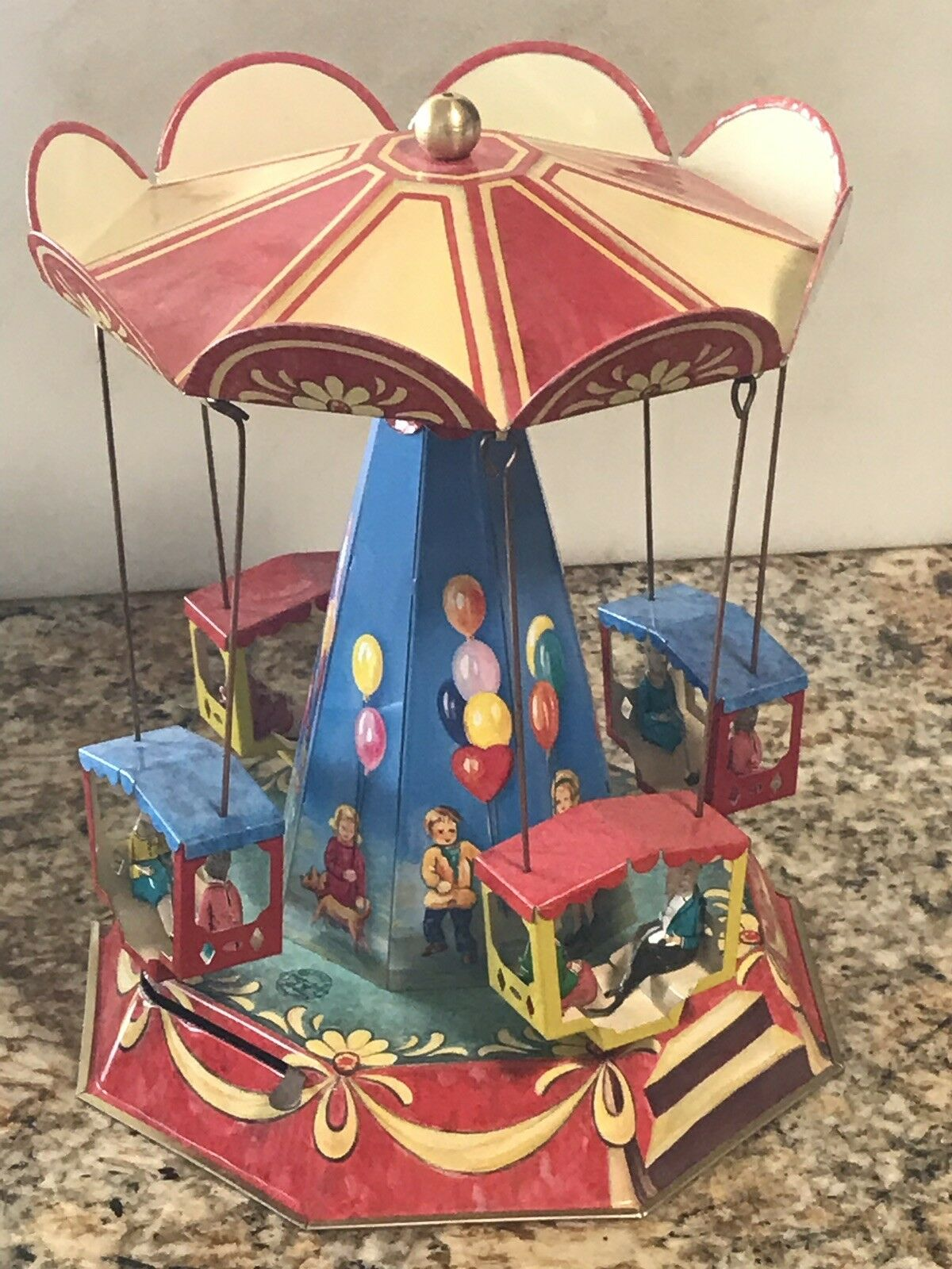 Wagner Brunn Tin Ballon Toy Carousel With Lever Immaculate