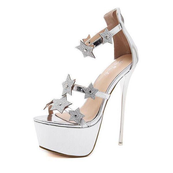 Sandali stiletto eleganti plateau 16.5 16.5 16.5  plata strass simil pelle eleganti CW251  ventas de salida