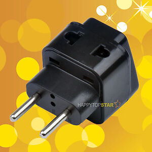 Details About 1 To 2 Splitter Uk Us Au Euro Brasil Ru Travel Ac Plug Adapter Adaptor