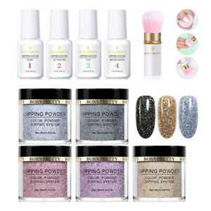9Bottles-Hologarphic-Nail-Glitter-Dipping-Liquid-Powder-New-Polish-Starter-Kit