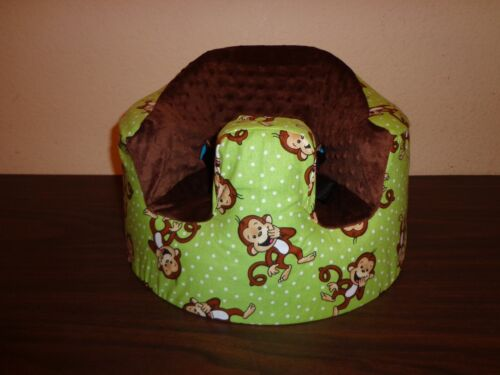 New Bumbo Seat COVER Safety Strap Ready Green with Giggling Monkeys
