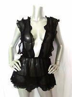 Victorias Secret Designer Collection $198 Ruffle Silk Baby Doll Teddy Set M