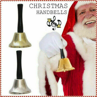 Portable Metal Hand Bell Loud Call Bell Handbell with Wooden Handle Loud Xmas US