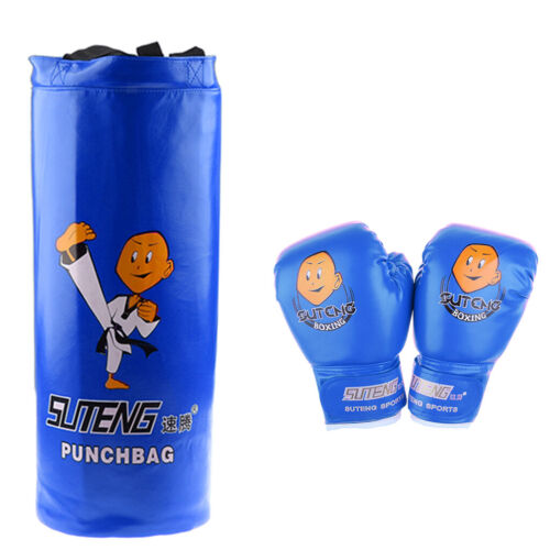 Child Boxing Kit Fitness Punch Bag MMA Punching Bags Gloves Heavy Bag Blue