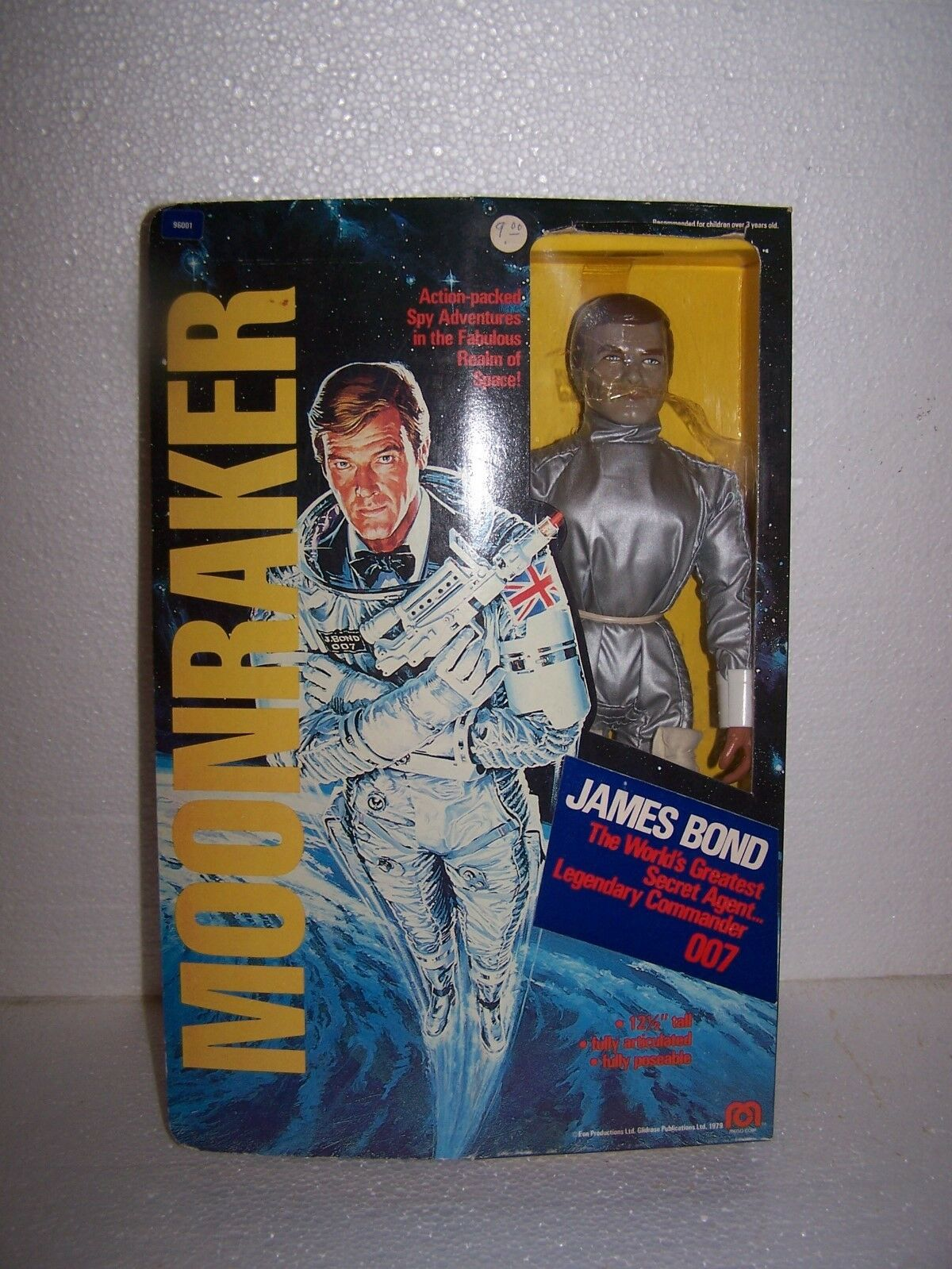 Vintage 1979 Mego James Bond 12.5  Moonraker Figure Complete With Box 007 Yellow
