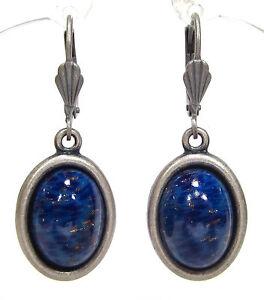 SoHo-Ohrringe-Ohrhaenger-1960-s-vintage-boehmisches-glas-lapis-blau-altsilber