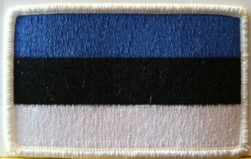ESTONIA Flag Embroidered Iron-On Patch Tactical Morale Emblem White Border