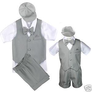 6c04c97dc69f New Lt.Gray Infant Boy   Toddler Formal Vest shorts Suit Bow Tie ...