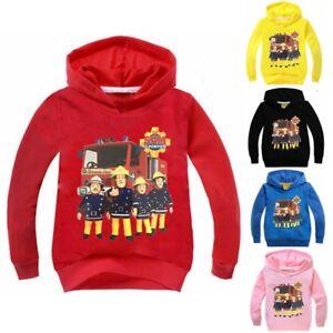 Fireman-Sam-Girls-Boys-Hooded-Tops-T-shirt-Kids-Hoodie-Cartoon-Costume-Age-2-10Y