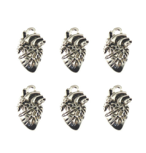 Pack of 30 Antiqued Alloy Human Heart Organ Charm Pendant Findings 16x26 MM