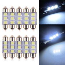 10 x 36MM 5050 3SMD LED Festoon Dome Coche Auto Interior Luz Bombilla blanco