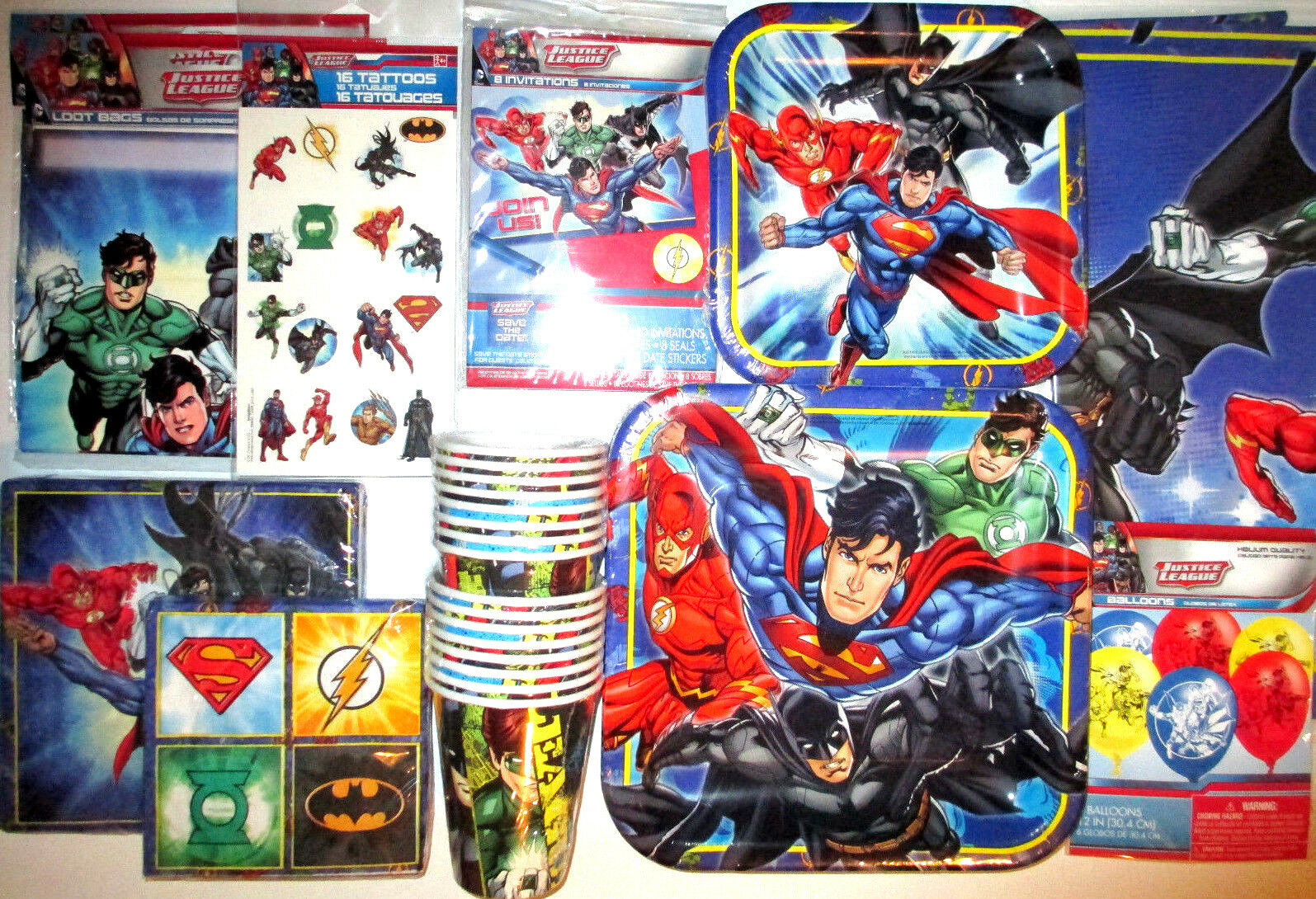 JUSTICE LEAGUE LEAGUE LEAGUE Birthday Party Supply SUPER Kit w Loot Bags, Invites & Balloons 925238