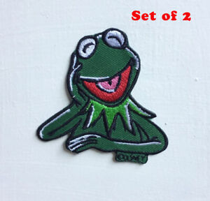 Kermit The Frog Character Art Badge Iron or sew on Embroidered Patch Set of 2