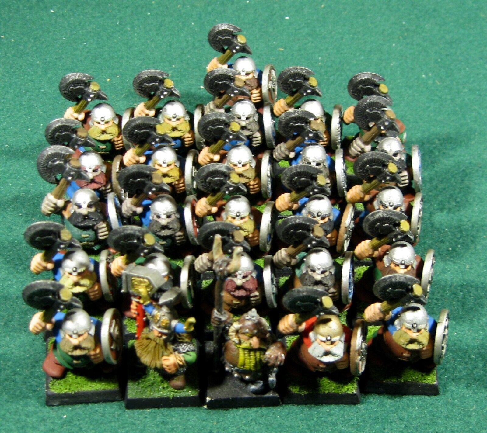 Veintiséis enanos pintados pintados pintados de plástico, estudio de juegos GW, martillo wfb, aos, OOP 5a4