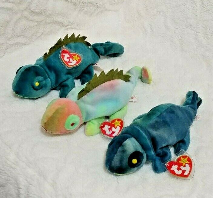Rare Find MINT Set of 3 TY Beanie Babies  IGGY - 2 (1997) and RAINBOW (1997)