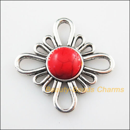 4Pcs Retro Tibetan Silver Tone Flower Red Turquoise Charms Connectors 31mm