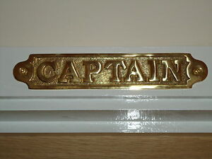 Brass-CAPTAIN-Sign-Hand-Casted-Door-Plaque-Office-Cabin-Bar-Pub-Nautical