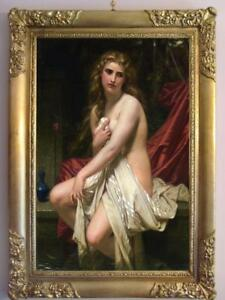 "Old Master-Art Antique Oil Painting female nude girl on canvas 24""x36"""