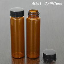 100pcs 40ml Sample Vialscaps Amberclear Glass Bottle Screw Top 24 400mm Cap Us