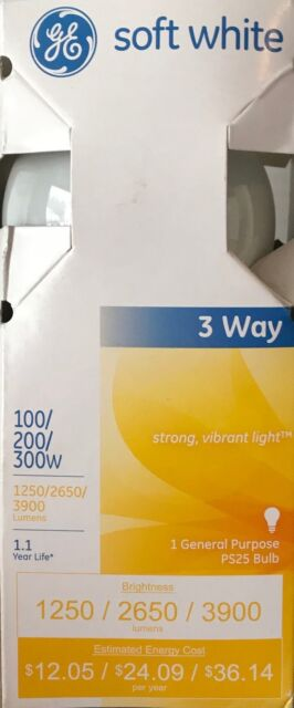 Ge 3 Way Soft White Light Bulb 300 W 1 250/2650 Lumens Ps25 Mogul 6 11/16  In. Sleeved