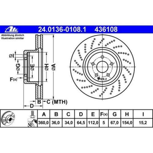 ATE 24.0136-0108.1 Bremsscheiben 2 Stück für MERCEDES-BENZ
