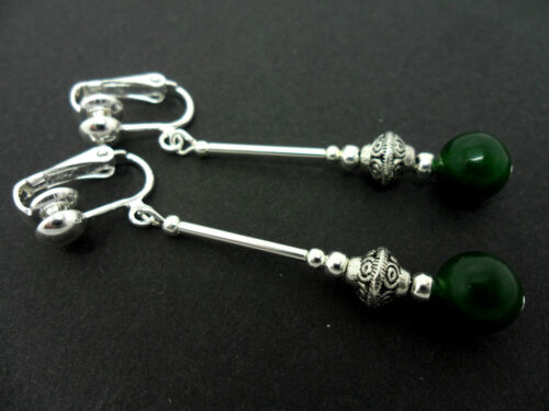 A PAIR OF DANGLY DARK GREEN JADE BEAD  SILVER PLATED CLIP ON  EARRINGS.