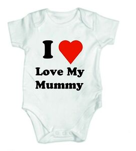 I Love My Mummy Funny Baby Vest Grow Bodysuit Personalised Baby Great Gift