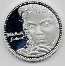 Michael Jackson Face Silver Coin Autograph History Pop Rock n Roll Singer Star