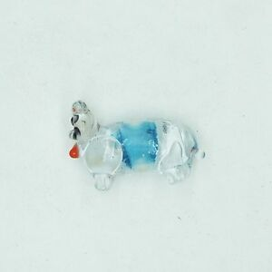Glass Beads Blue Clear Color Lined Cat Animal 25mm Made in India. Pack of 10